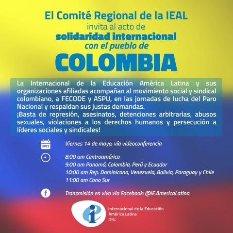 Invitación Solidaridad con Colombia