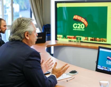 Alberto Fernández interviene en conferencia virtual del G20
