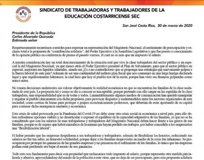 Carta del SEC al Presidente de Costa Rica