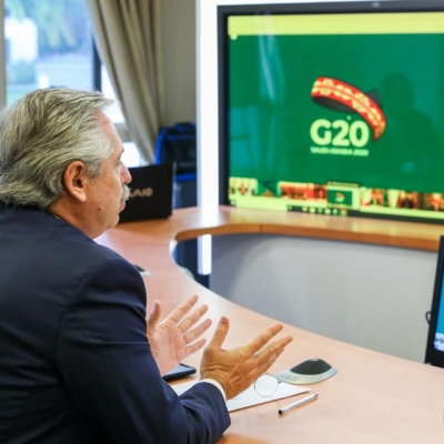 Alberto Fernández interviene en conferencia virtual del G20